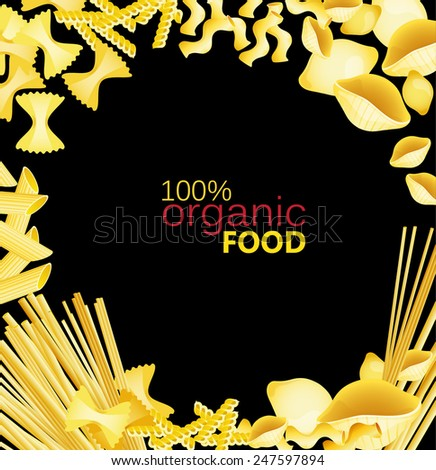 Different types of pasta with tomato on a black background - stock vector