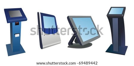 Different types of payment terminals. Vector image - stock vector