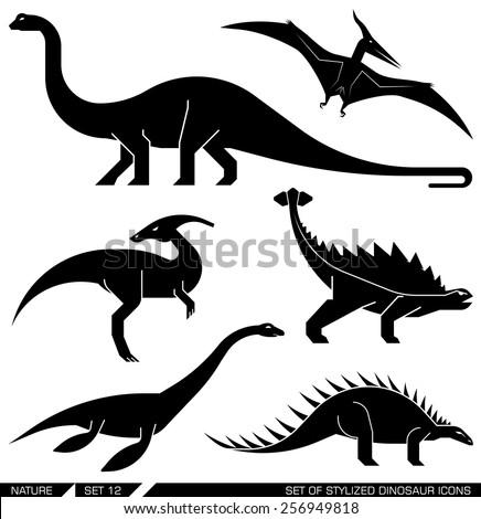 Different types of prehistoric dinosaur icons: brontosaurus, diplodocus, apatosaurus, velociraptor, parasaurolophus, polacanthus, pterodactyl. Vector illustration. - stock vector