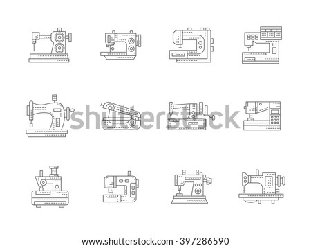 Different types of sewing machine. Stitching machines. Tailoring equipment. Dressmaking and clothes mending. Set of flat black line vector icons. Elements for web design and mobile. - stock vector
