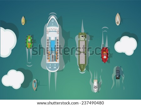 Different types of ships. Top view. Vector set. - stock vector