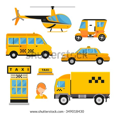 Different types of taxi transport: cars, helicopter, van truck, bike and motorcycle. Taxi vector illustration. Taxi cars. Taxi city service girl manager. Taxi transport. Passengers taxi and delivery - stock vector