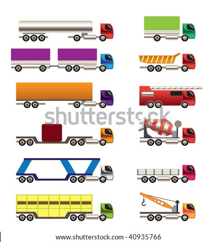 different types of trucks and lorries icons - Vector icon set - stock vector