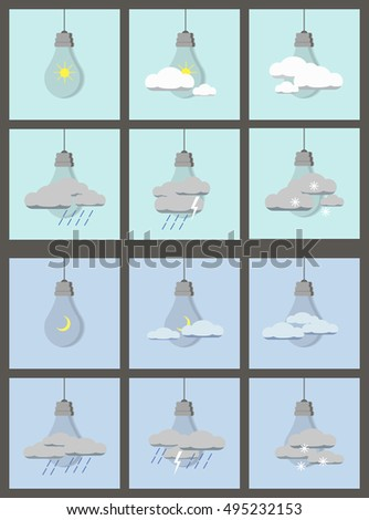Different types of weather. Day and night. Flat vector illustration