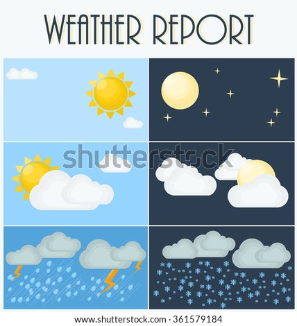 Different types of weather. Day and night. Flat vector illustration. Symbols and icons of weather topic. - stock vector