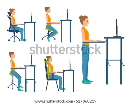 Different Types Seats Saddle Chair Standing Stock Vector