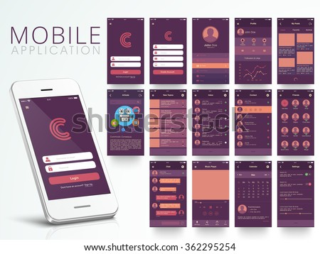 Different UI, UX, GUI screens and flat web icons for mobile apps, responsive website including Login, Create Account, Profile, Post, Inbox, Contact, Friends, Chat, Music, Setting and Calendar Screens. - stock vector