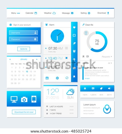Different UI, UX, GUI screens and flat web icons for mobile apps. Vector Illustration