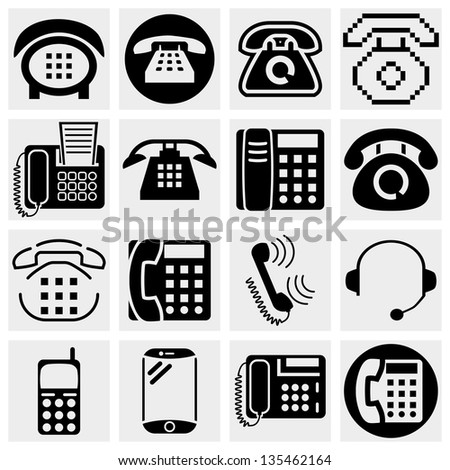 Different vector black phone icons set on gray. - stock vector