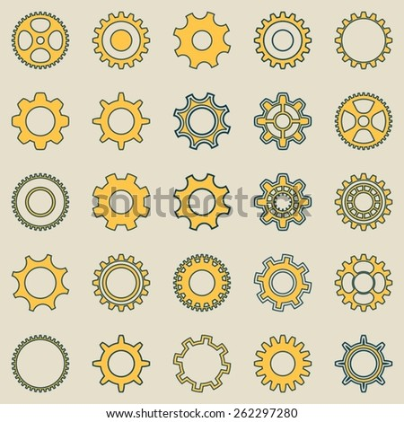 Different vector gear wheel retro collection seamless pattern - stock vector