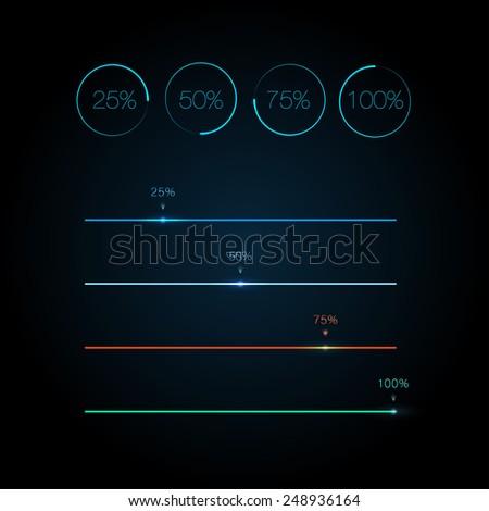 Different vector progress bars - stock vector