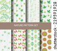 different vector seamless patterns, natural concept. Endless texture can be used for wallpaper, pattern fills, web page background,surface textures. - stock vector