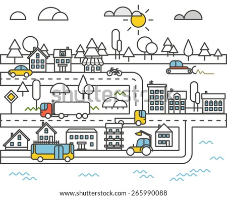 Different vehicle on a road. City life minimalism illustration concept - stock vector