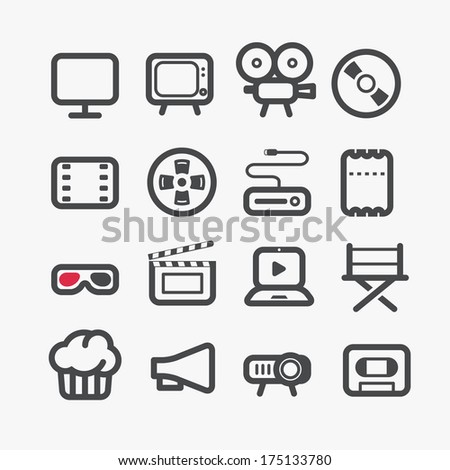 Different video industry icons set with rounded corners. Design elements - stock vector