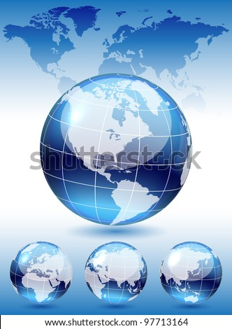 Different views of dark blue glass globe, map included, vector illustration, eps 10, 3 layers