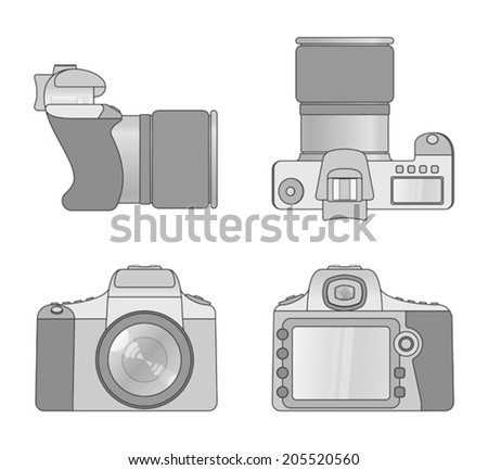 Different views of digital camera - stock vector