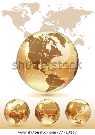 Different views of golden glass globe, map included, vector illustration, eps 10, 3 layers