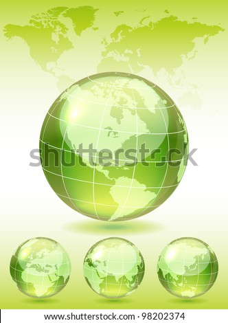 Different views of green glass globe, map included, vector illustration, eps 10, 3 layers