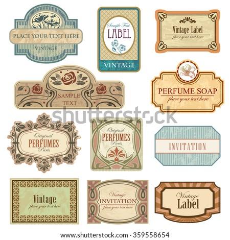 Different vintage art nouveau lables. - stock vector
