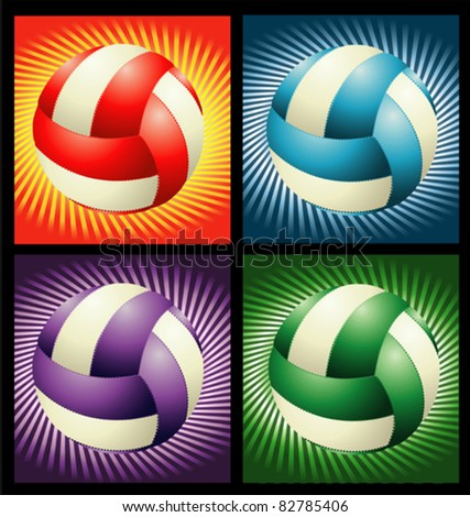 Different volleyballs on the different rainbow background - stock vector