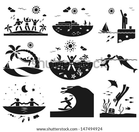Different ways of having fun at the sea - stock vector