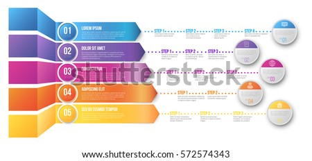 Different ways with several steps for targets infographics 3D chart vector template with colored options arrow lead to goals