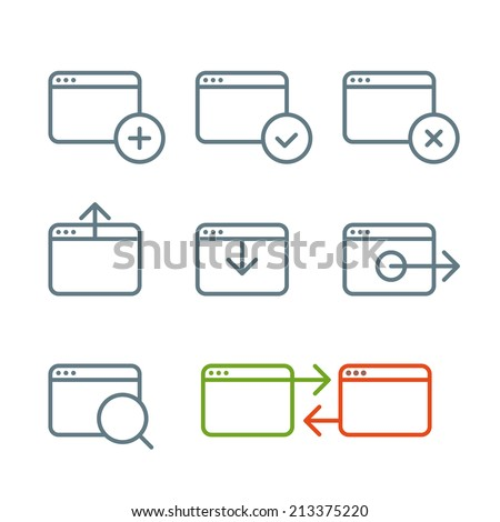 Different web browser icons set with rounded corners. Design elements - stock vector