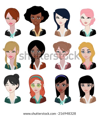 Different Woman avatar - stock vector