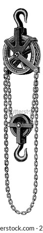 Differential pulley, vintage engraved illustration. Industrial encyclopedia E.-O. Lami - 1875.  - stock vector