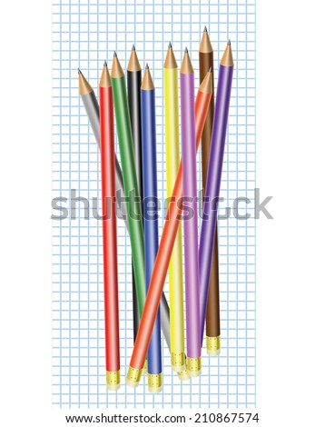 Differently colored pencils with eraser  on a graph paper - stock vector