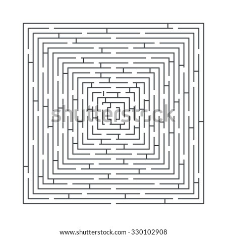 difficult and long maze educational game in the form of a square blue on white - stock vector