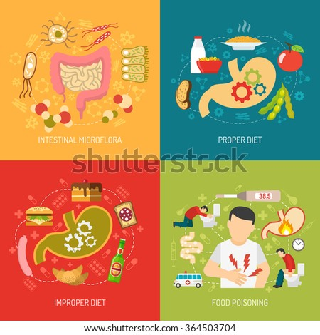 Digestion concept icons set with intestinal microflora and proper diet symbols flat isolated vector illustration  - stock vector