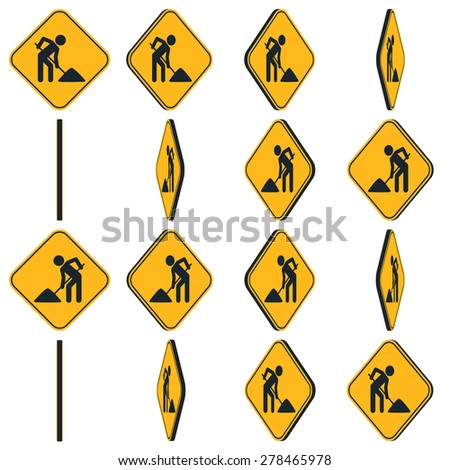 Digging man. Vector illustration of animation rotation road sign - stock vector