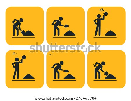 Digging man. Vector illustration of animation throwing soil over his shoulder  - stock vector