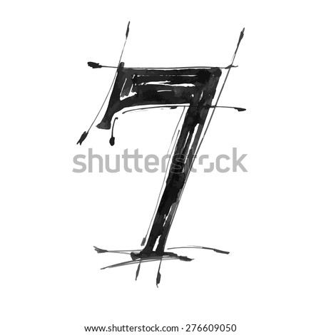 digit 7. Alphabet symbol - grunge hand draw paint / vector illustration - stock vector