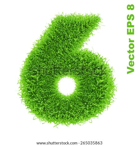 Digit symbol 6 of grass alphabet, vector illustration EPS 8.