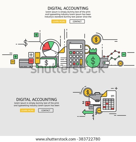 Digital Accounting for website banner and landing page , Flat line design for website element , eps10 vector format - stock vector