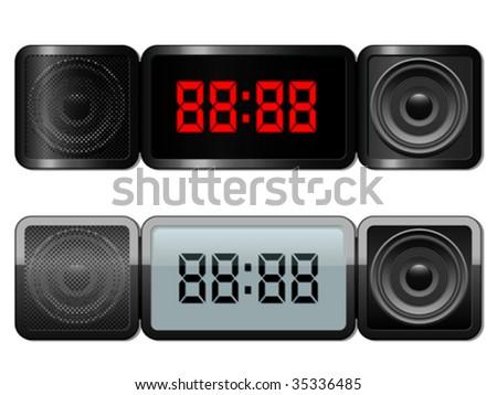Digital alarm clock with speakers - vector - stock vector