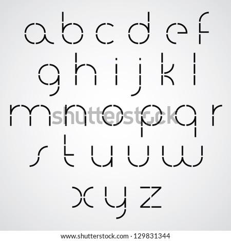 Digital alphabet, modern style vector font. Black and white. Light version. - stock vector
