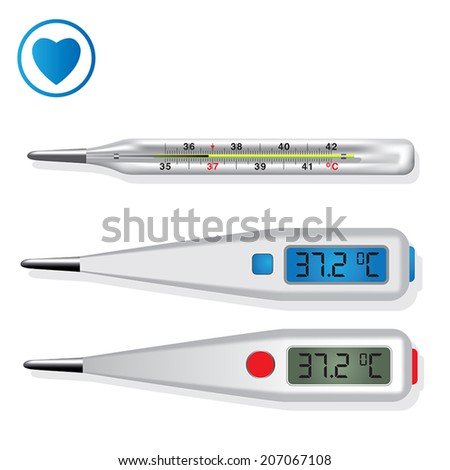 Digital and mercury medical thermometers. Vector illustration - stock vector