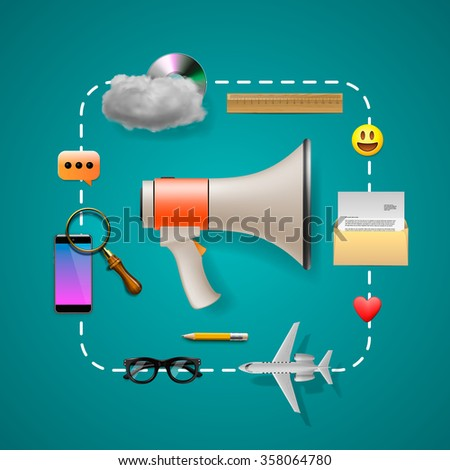 Digital and social marketing strategies, vector illustration.