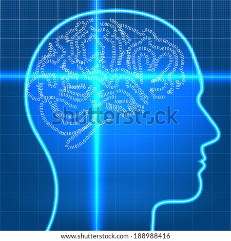 Digital artificial intelligence brain on scan stock vector digital artificial intelligence brain on scan over blueprint paper malvernweather Image collections