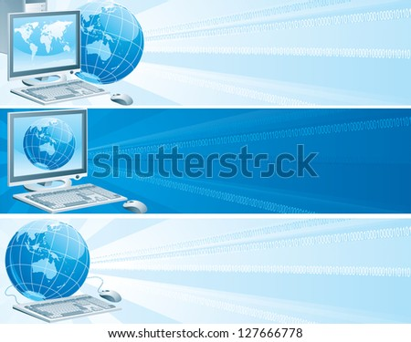Digital Australia. Set of vector banners with computer, flat monitor,  mouse and  globe on an abstract background - stock vector