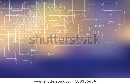 Digital background with colorful network dots and lines - stock vector