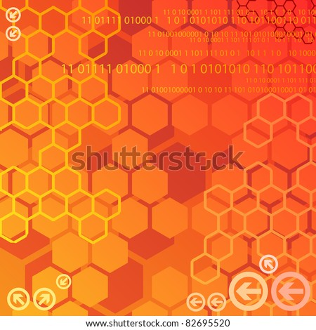Digital background with numbers and arrows - stock vector