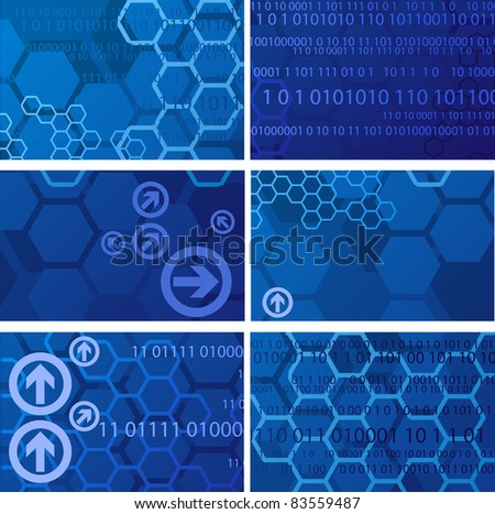 Digital backgrounds with numbers and arrows - stock vector