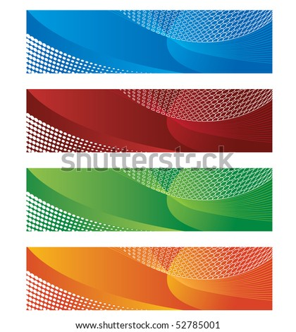 Digital banners in halftone and gradient - stock vector