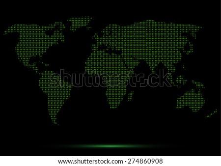 Digital Binary World Map Green Code Lines Vector Illustration - stock vector