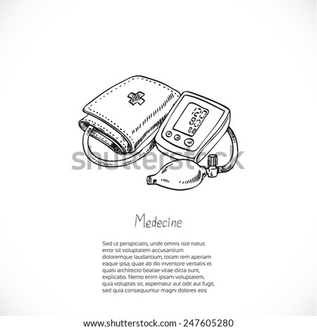 Digital Blood Pressure Monitor, drawing doodle vector-Medical banner for your text - stock vector