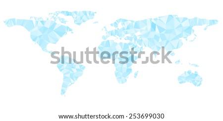 Digital blue world map is shining diamond triangles style. Vector illustration. - stock vector
